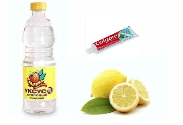 уксус, зубная паста, лимонный сок