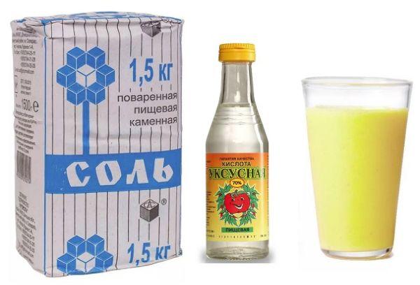 Соль, уксус и лимонный сок
