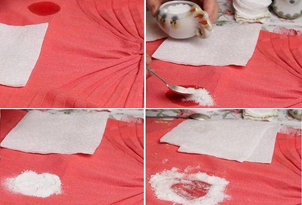 Удаление пятен солью