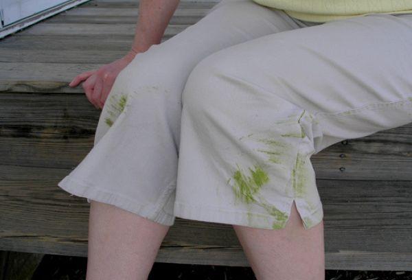 испачканные травой шорты