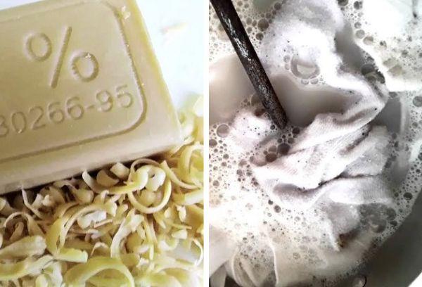 Хозяйственное мыло + кипячение