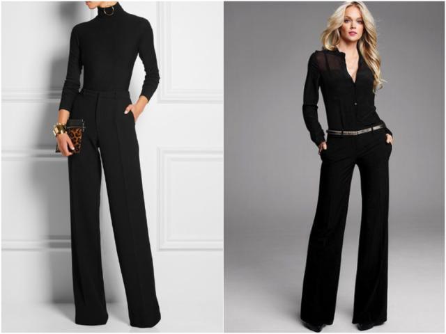Длинные черные женские брюки