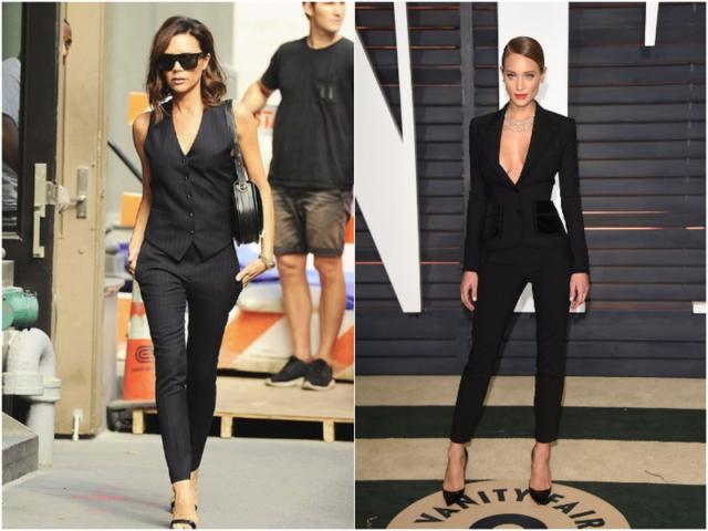женские черные брюки и костюм