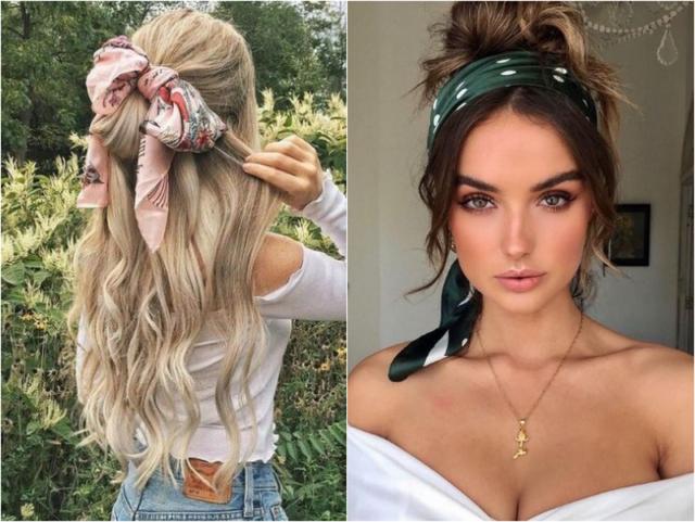 Бондана на волосах у девушки