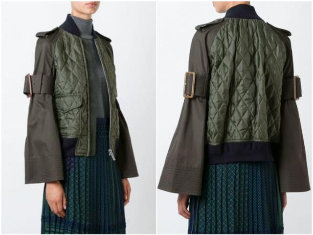 Бомбер зеленая куртка