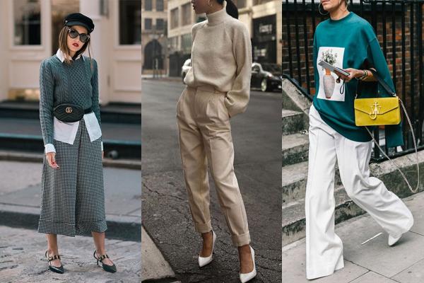 Осенние образы с широкими брюками и свитерами