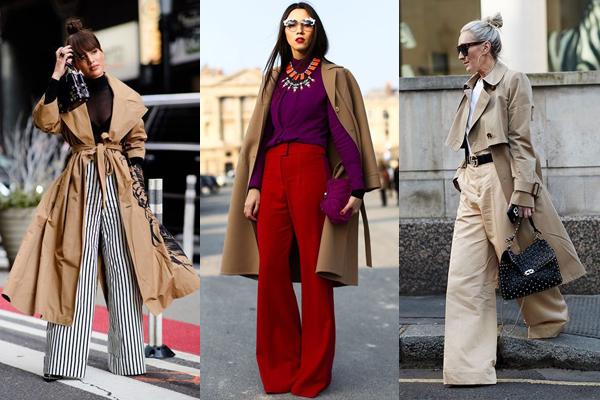 Образы с широкими брюками и пальто