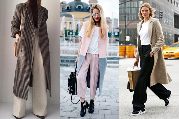 Осенние образы с пальто и широкими брюками