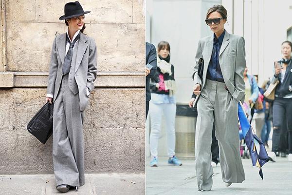 Женские образы с широкими брюками в мужском стиле