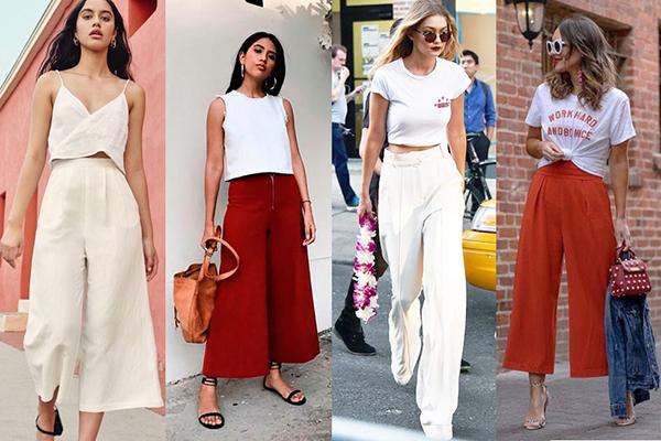 Девушки в широких брюках и летних блузках