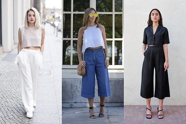 Девушки в широких брюках и коротких топах
