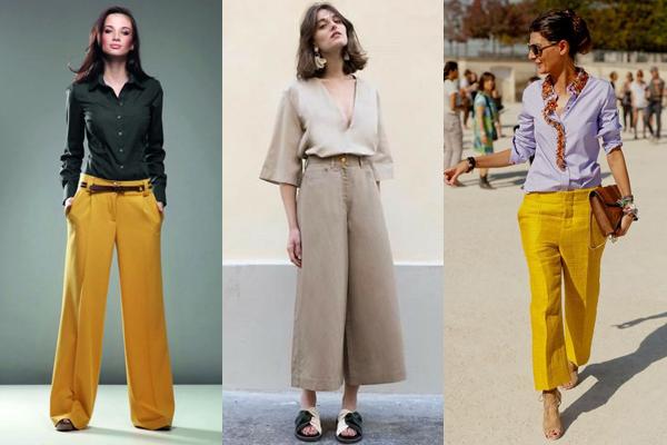 Образы с широкими брюками и рубашками