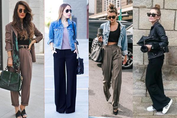 Сочетание жакетов и легких курток с широкими брюками