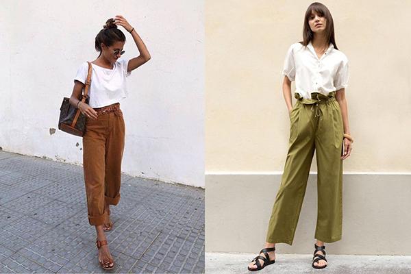 Широкие летние брюки с белым верхом