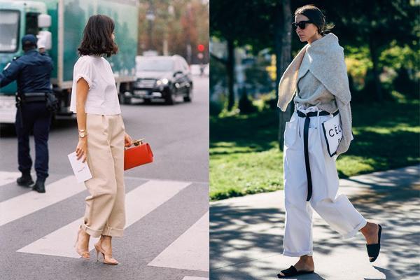 Широкие брюки с подворотами и контрастным поясом