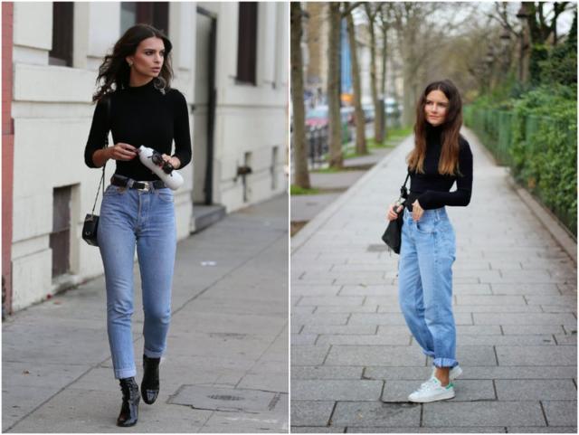 Женская водолазка с джинсами