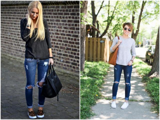 Слипоны к рваным джинсам