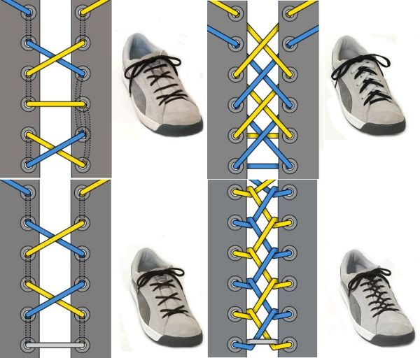 разные способы завязывания шнурков