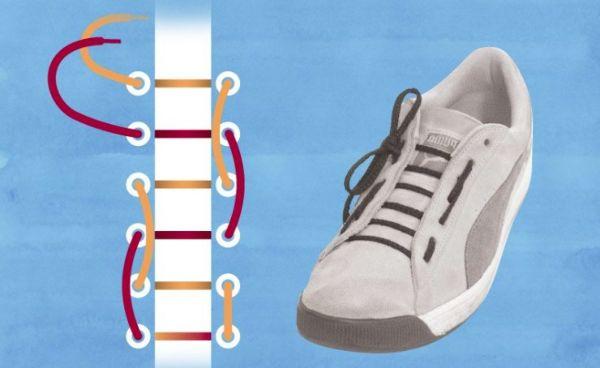 метод завязывания шнурков для спорта