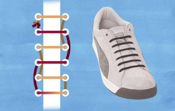 шнуровка кроссовок с 4 дырками