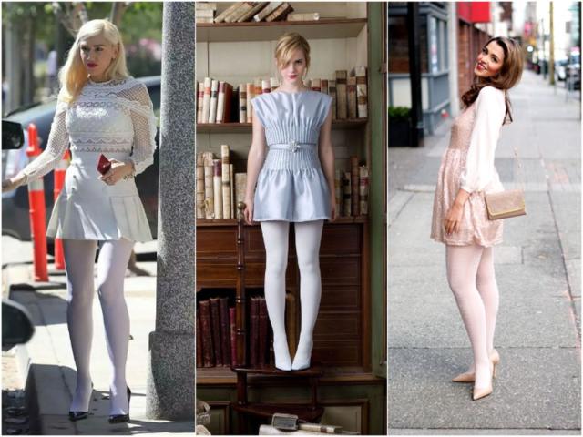 Девушки в белых колготках