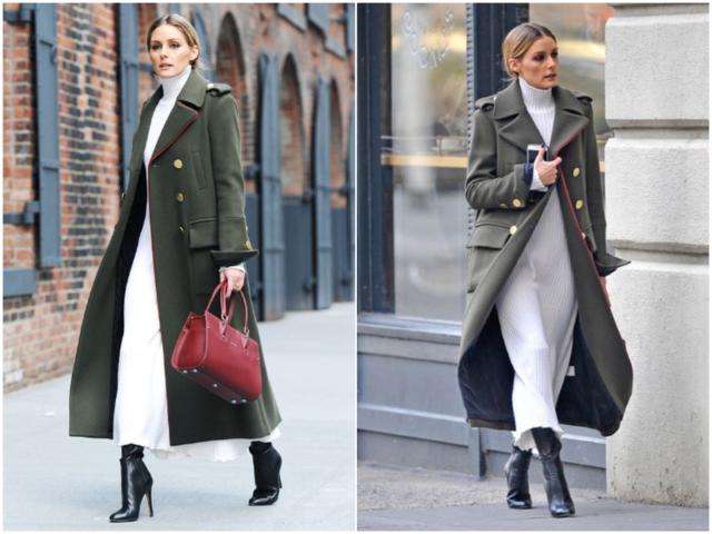 Платье-водолазка с пальто