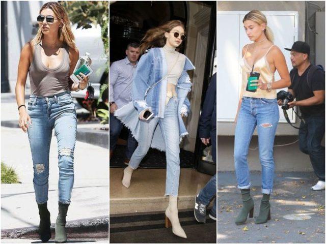 Сапоги-чулки с джинсами