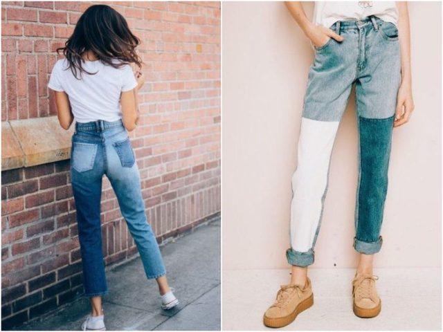 Комбинированные джинсы