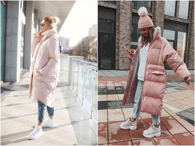 Розовые куртки на пуху фасона оверсайз