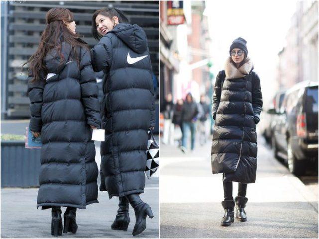 Длинные куртки пуховики