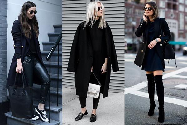 Черные пальто разных фасонов