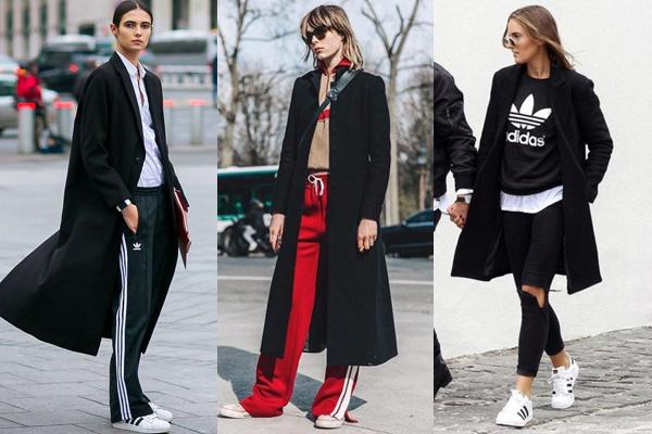 Черное пальто и спортивный стиль