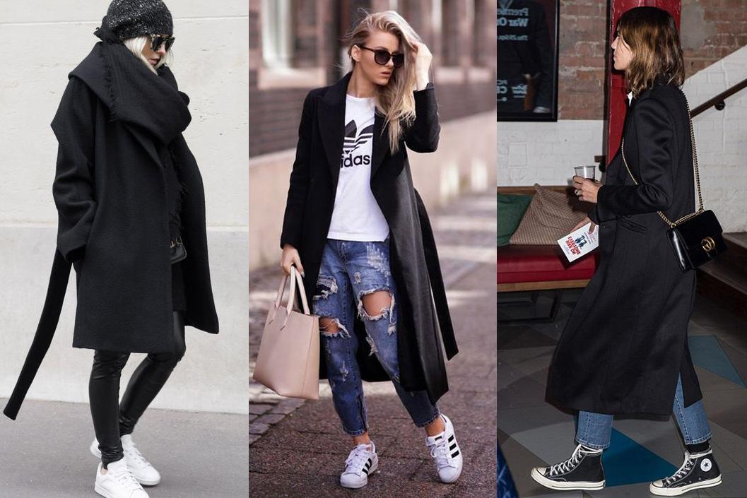Черное пальто с элементами спортивного стиля