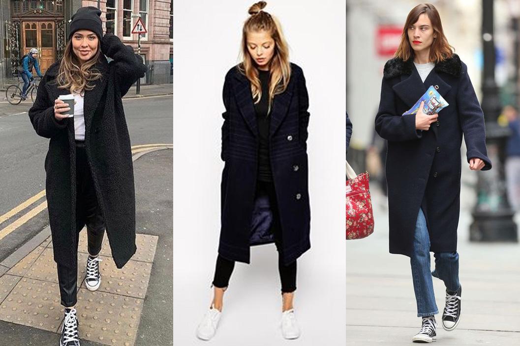 Спортивная обувь в сочетании с черным пальто