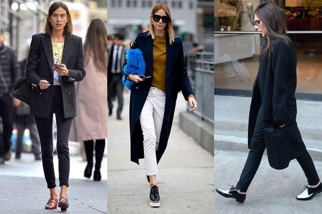 Обувь на низком каблуке в образах с черным пальто