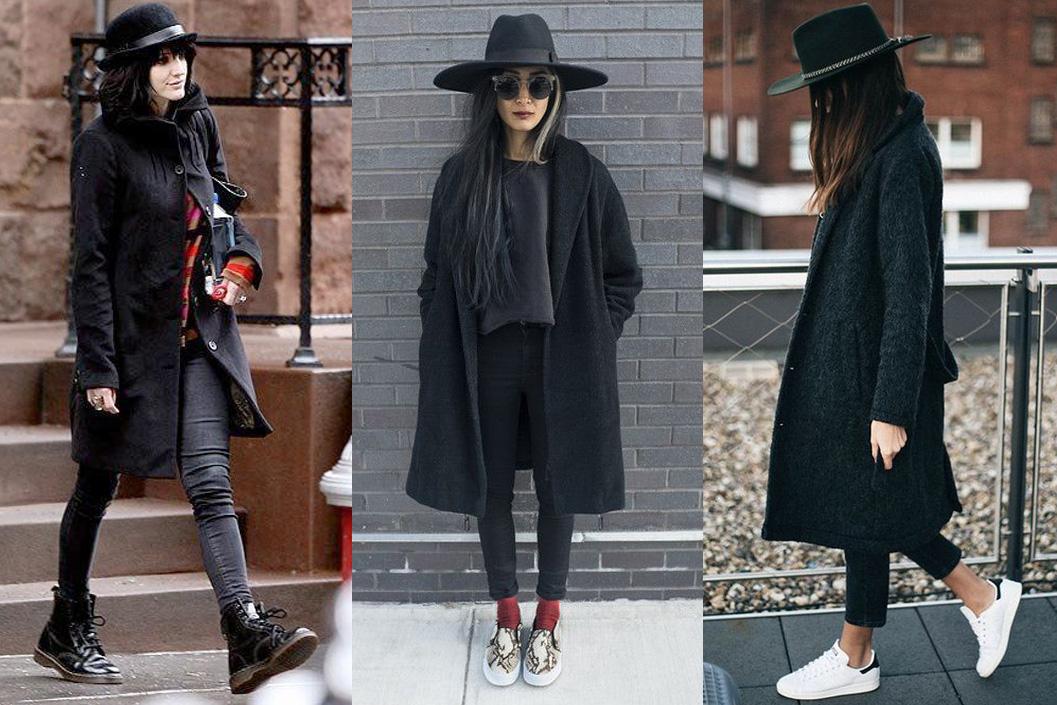 Девушки в шляпах и черных пальто