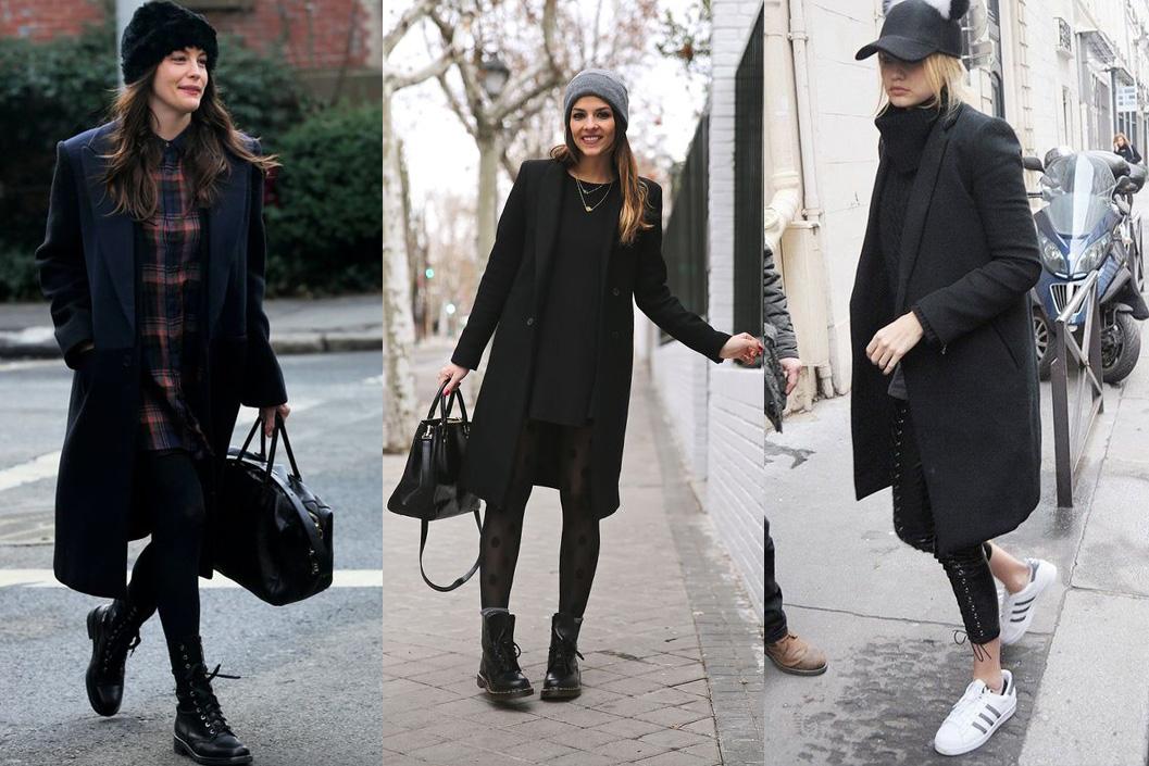 Головные уборы к черному пальто
