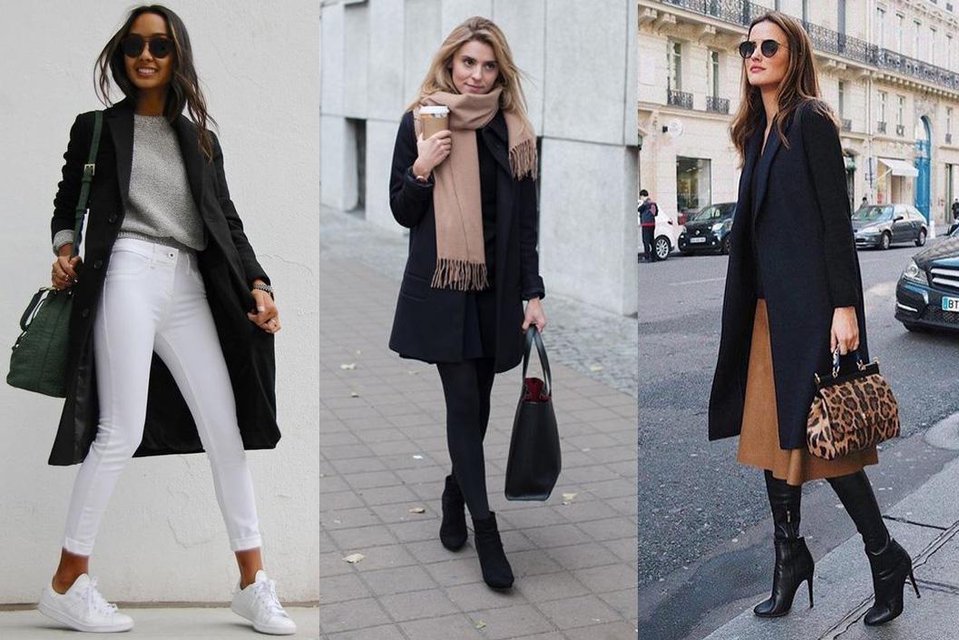Черное пальто с вещами пастельных тонов