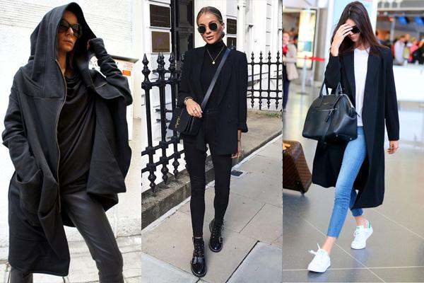 Разные фасоны черного пальто