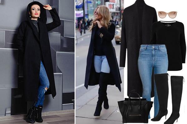 Черное пальто с джинсами