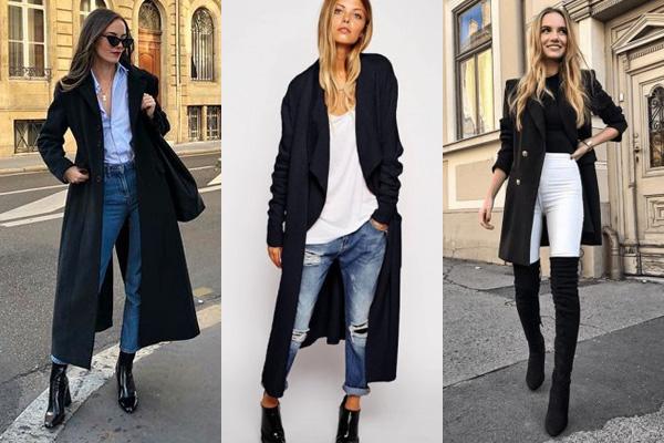 Черное пальто со светлой одеждой