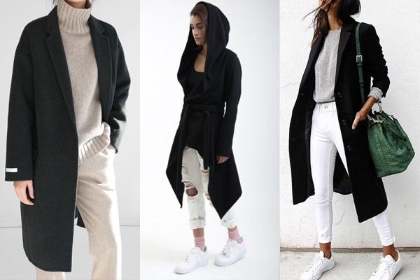 Образы с черным пальто и светлыми брюками
