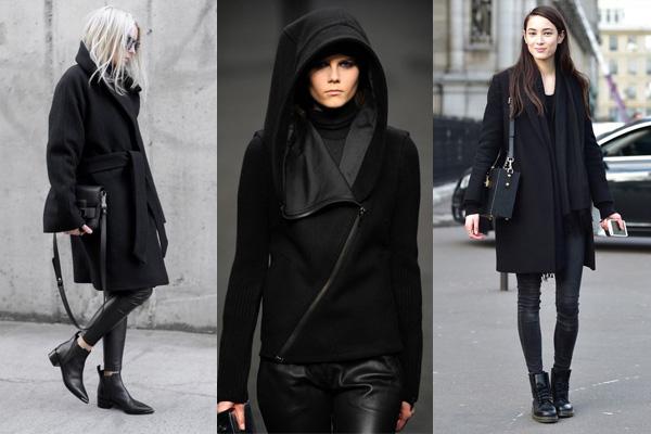 Образы total black с черными пальто