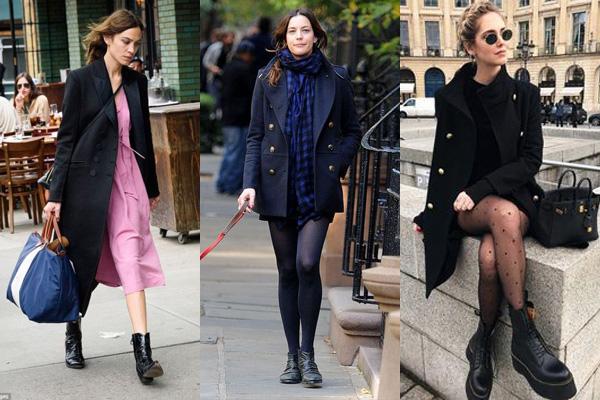 Женственные образы с черным пальто