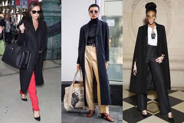 Женщины в черных пальто и брюках