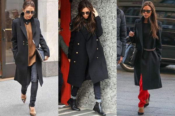 Виктория Бекхэм в черном пальто