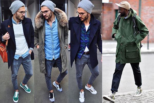Осенние мужские образы со спортивной обувью