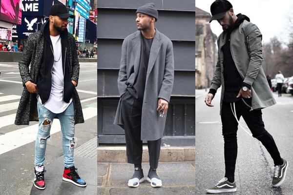 Мужчины в демисезонной одежде и кроссовках