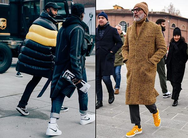 Зимние мужские образы с кроссовками