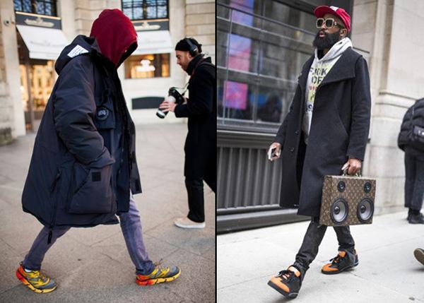 Зимние мужские образы с яркими кроссовками